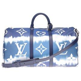 Louis Vuitton-NEW - SERIE LIMITEE - Louis Vuitton Keepall travel bag 50 Escale collection coated canvas shoulder strap-White,Blue
