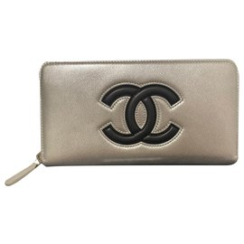 Chanel-Chanel large leather wallet , new & perfect condition.-Black,Silvery