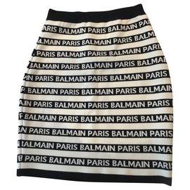 Balmain-Jupes-Noir,Blanc