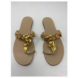 Dior-Sandales Dior Jardin Or Nouvelle Taille 41 IT-Beige,Doré,Bijouterie dorée