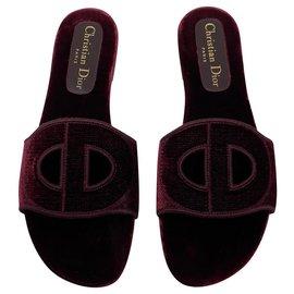 Dior-Dior Sabot chaussures plates D-Club velours bordeaux neuf-Bordeaux