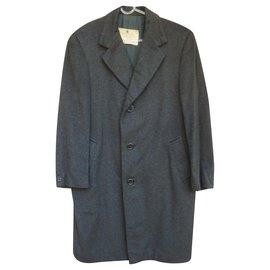 Aquascutum-vintage Aquascutum coat in pure cashmere 48-Dark grey