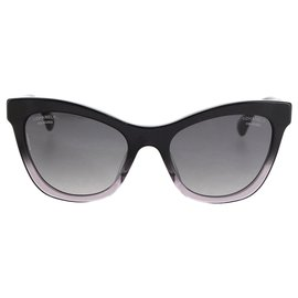Chanel-Chanel Black CC Cat Eye Tinted Sunglasses-Noir