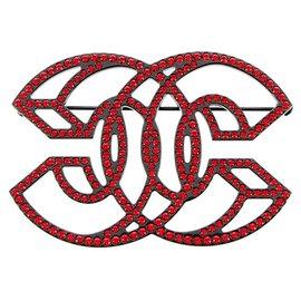 Chanel-Chanel Black CC Rhinestone Brooch-Black,Red