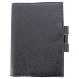 Hermès-Hermes Black GM Leather Agenda-Black