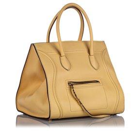 Céline-Celine Brown Large Phantom Luggage Leather Tote-Brown,Beige