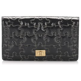 Chanel-Chanel Black Puzzle 2.55 Patent Leather Long Wallet-Black