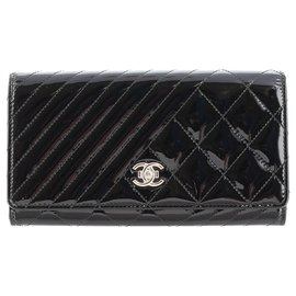 Chanel-Chanel Black Coco Boy Patent Leather Flap Wallet-Black