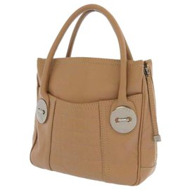 Chanel-Chanel Brown Choco Bar Soft Leather Tote Bag-Brown,Beige
