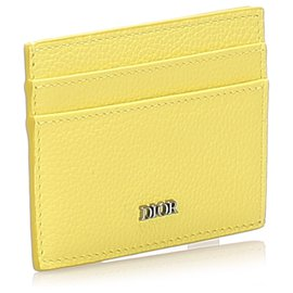 Dior-Dior Yellow Leather Card Holder-Yellow
