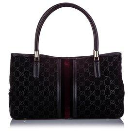Gucci-Sac cabas en daim noir Gucci GG-Noir,Rouge