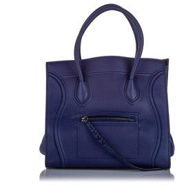 Céline-Celine Blue Large Phantom Luggage Leather Tote-Blue,Navy blue