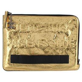 Chanel-Chanel Gold Je Ne Suis Pas En Solde Clutch Bag-Black,Golden