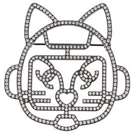 Chanel-Chanel Black Cat Robot Rhinestone Brooch-Black,White