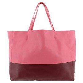 Céline-Celine Pink Horizontal Cabas Leather Tote Bag-Pink,Red,Dark red