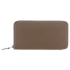 Hermès-Hermes Brown Epsom Azap Wallet-Brown,Dark brown