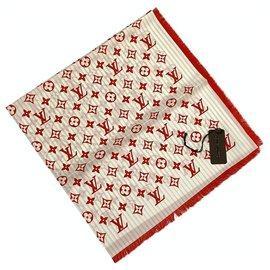 Louis Vuitton-Foulard en soie Louis Vuitton-Blanc,Rouge