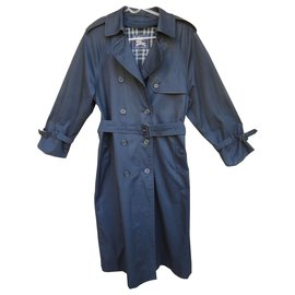 Burberry-vintage Burberry women's trench coat, T 38 Oversized, with removable wool lining-Navy blue