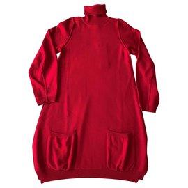 Pier Antonio Gaspari-Robe rouge en maille-Rouge