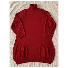 Pier Antonio Gaspari-Robe en maille de laine rouge-Rouge