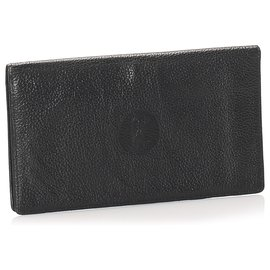 Céline-Celine Black Leather Long Wallet-Black