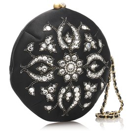 Chanel-Chanel Black Embellished Velour Pouch-Black,White
