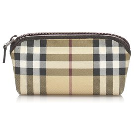 Burberry-Burberry Brown House Check Pouch-Brown,Multiple colors,Beige