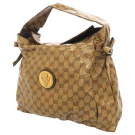 Gucci-Gucci Brown GG Crystal Hysteria Tote Bag-Marron,Beige