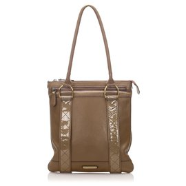 Burberry-Burberry Brown Calf Leather Tote Bag-Brown