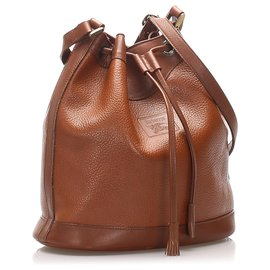 Burberry-Burberry Brown Leather Bucket Bag-Brown