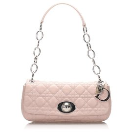 Dior-Dior Pink Cannage Chain Leather Shoulder Bag-Pink,Other