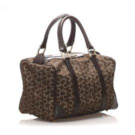Céline-Celine Brown C Macadam Canvas Boston Bag-Brown,Dark brown