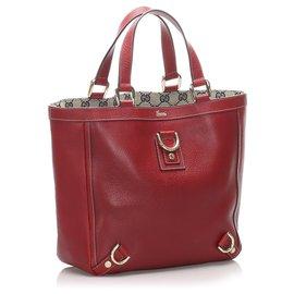 Gucci-Gucci Sac cabas en cuir rouge avec anneau Abbey-D-Rouge