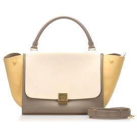 Céline-Celine White Medium Tricolor Trapeze Leather Satchel-White,Multiple colors