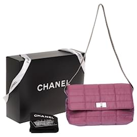 Chanel-Lovely Chanel handbag 2.55 medium single flap in purple fabric, metal color handle, silver metal trim - Full set-Purple