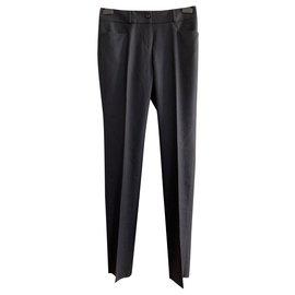 Yves Saint Laurent-Pantalon vestimentaire en laine-Gris anthracite