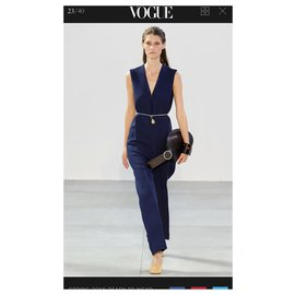 Céline-Wool Old Céline Jumpsuit 2015 show edition-Blue,Dark blue