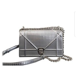 Dior-Dior Diorama Silver calf leather Medium Bag-Silvery