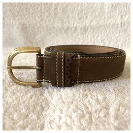 Yves Saint Laurent-Taupe color vintage leather belt-Taupe