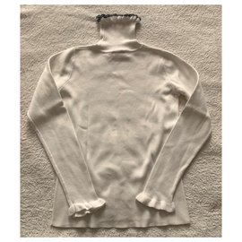 Jacadi-White ribbed cotton jumper-White