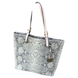 Michael Kors-Python-effect leather tote-Grey