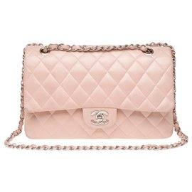 Chanel-Superb Chanel Timeless medium bag (25cm) in pink quilted leather, Garniture en métal argenté, In very beautiful condition!-Pink