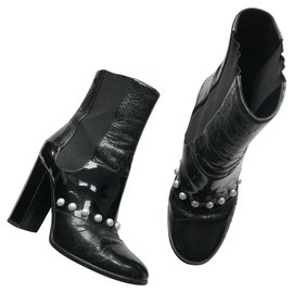 Chanel-Patent Leather Pearl  Boots-Black