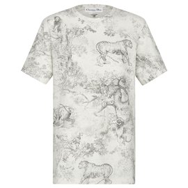 Dior-DIORIVIERA T-SHIRT Gray cotton and linen jersey with Toile de Jouy print-Grey