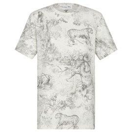 Dior-T-SHIRT DIORIVIERA Jersey de coton et lin gris à imprimé Toile de Jouy-Gris