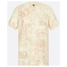 Dior-DIOR DIORIVIERA T-SHIRT Pink cotton and linen jersey with Toile de Jouy print-Pink
