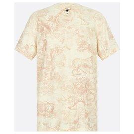 Dior-DIOR T-SHIRT DIORIVIERA Jersey de coton et lin roses à imprimé Toile de Jouy-Rose