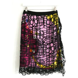 Chanel-SS00 Silk & Lace Skirt-Multiple colors