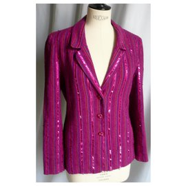 Chanel-CHANEL Pink sequin sequin jacket T40 en good condition-Pink