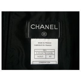 Chanel-CHANEL Basic black wool pencil suit skirt T40-Black